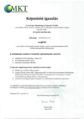 Tanusítvány: MKT