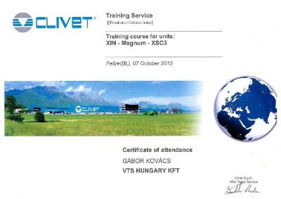 Tanúsítvány: Clivet Training Service